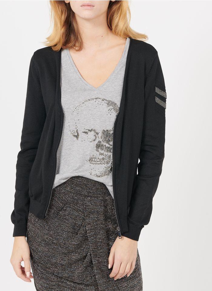 IKKS Black Zip-up mixed-knit V-neck cardigan