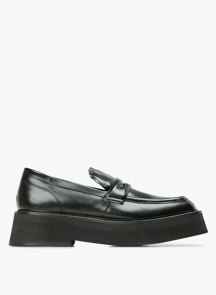 JONAK Black Leather wedge loafers