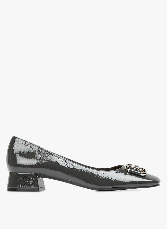 JONAK Grey Patent leather ballet pumps