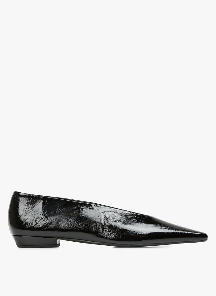 JONAK Black Pointed leather ballet pumps