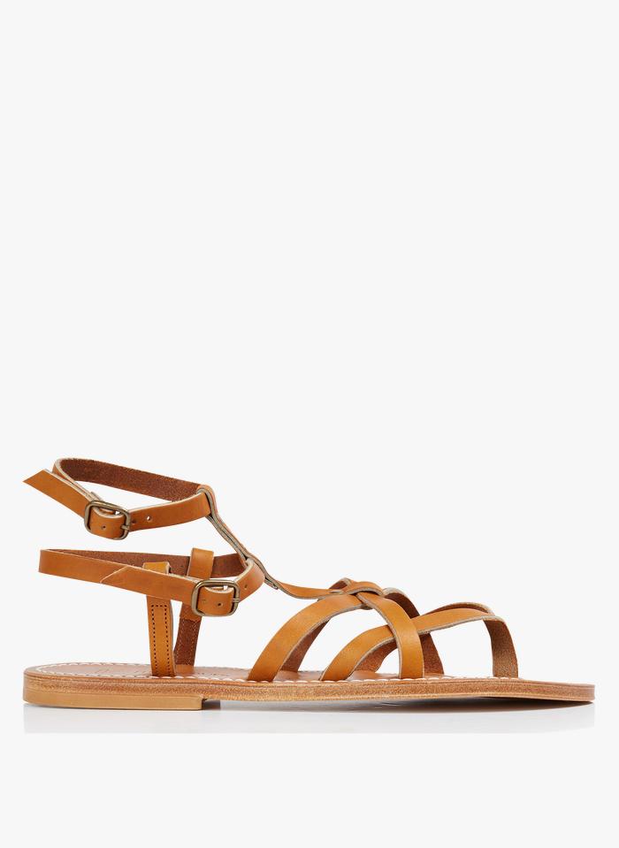 K JACQUES Beige Leather gladiator sandals