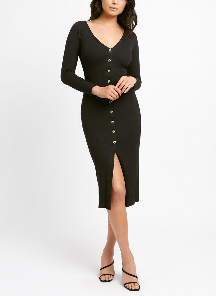 KOOKAI Black Buttoned V-neck midi dress