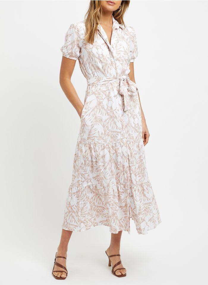KOOKAI Beige Long leaf print dress with classic collar