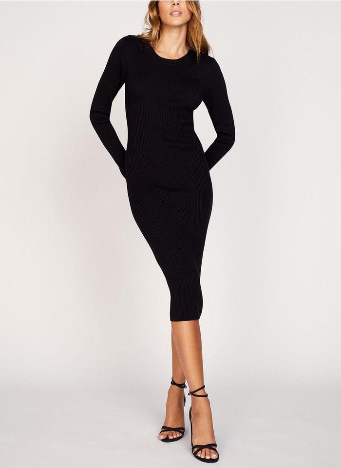 KOOKAI Black Round-neck wool-blend midi dress