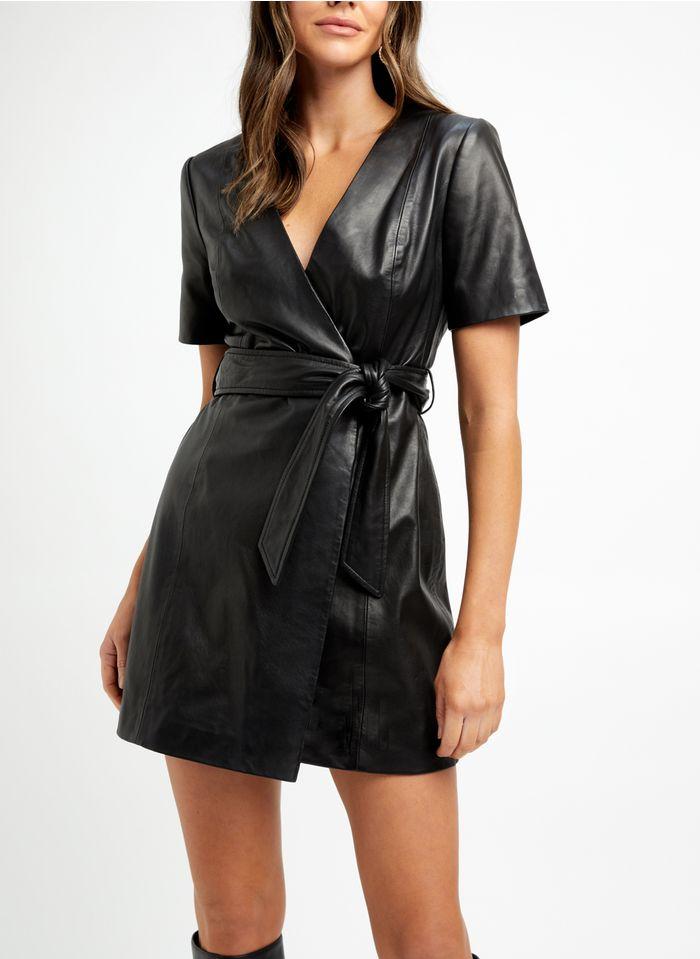 KOOKAI Black Short belted V-neck leather dress