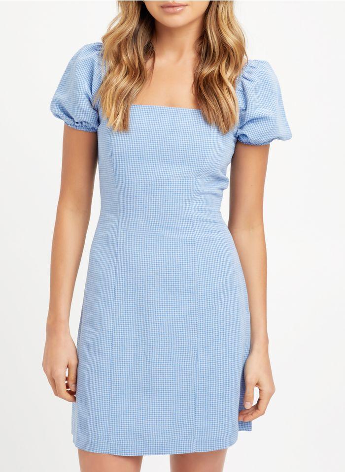 KOOKAI Blue Short linen-blend square-neck dress with gingham print