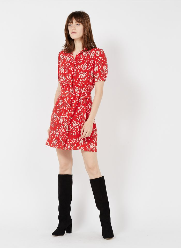 KOOKAI Red Short printed dress with classic collar