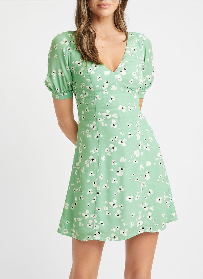 KOOKAI Green Short printed V-neck dress