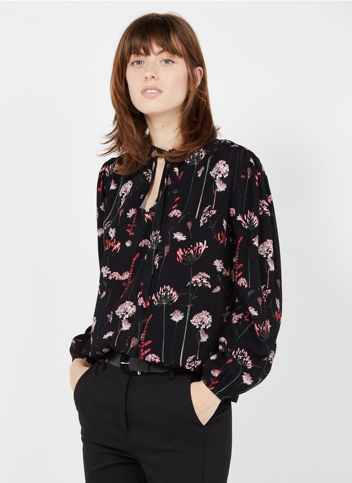 LA FEE MARABOUTEE Black Floral print top with pussy-bow collar