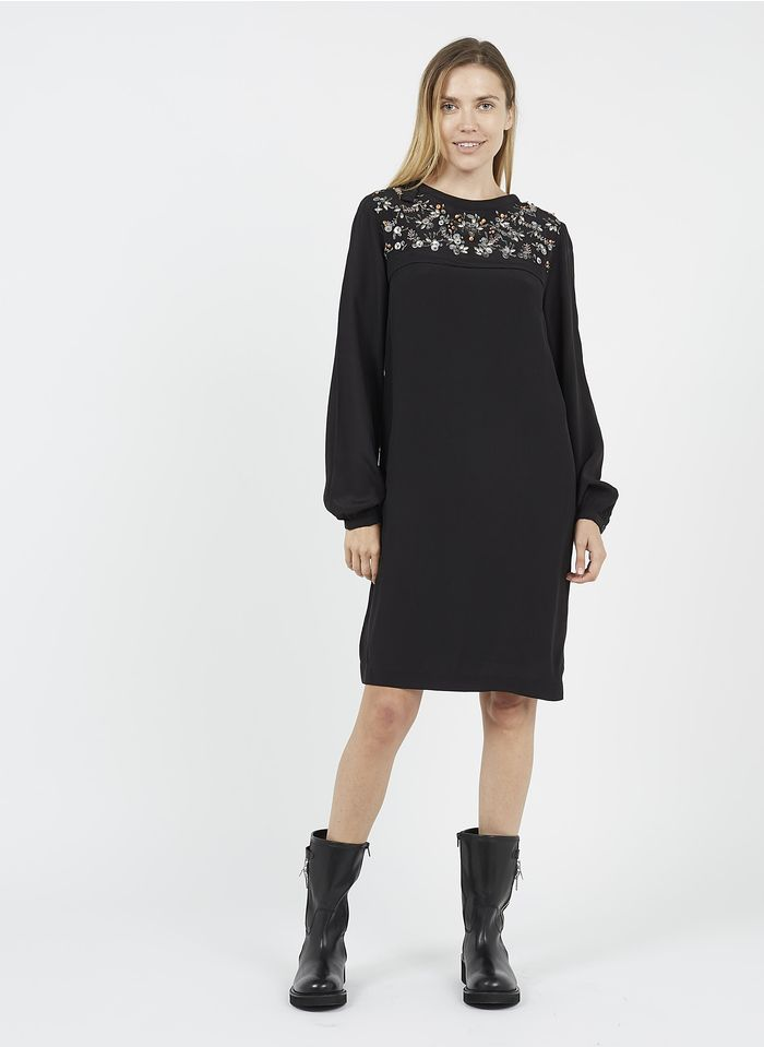 LA FEE MARABOUTEE Black Short round-neck dress with beading and sequins