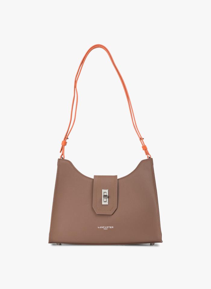 LANCASTER PARIS Brown Leather messenger bag with flap