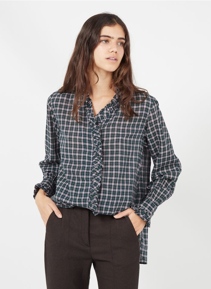 LAURENCE BRAS Green Checked cotton shirt