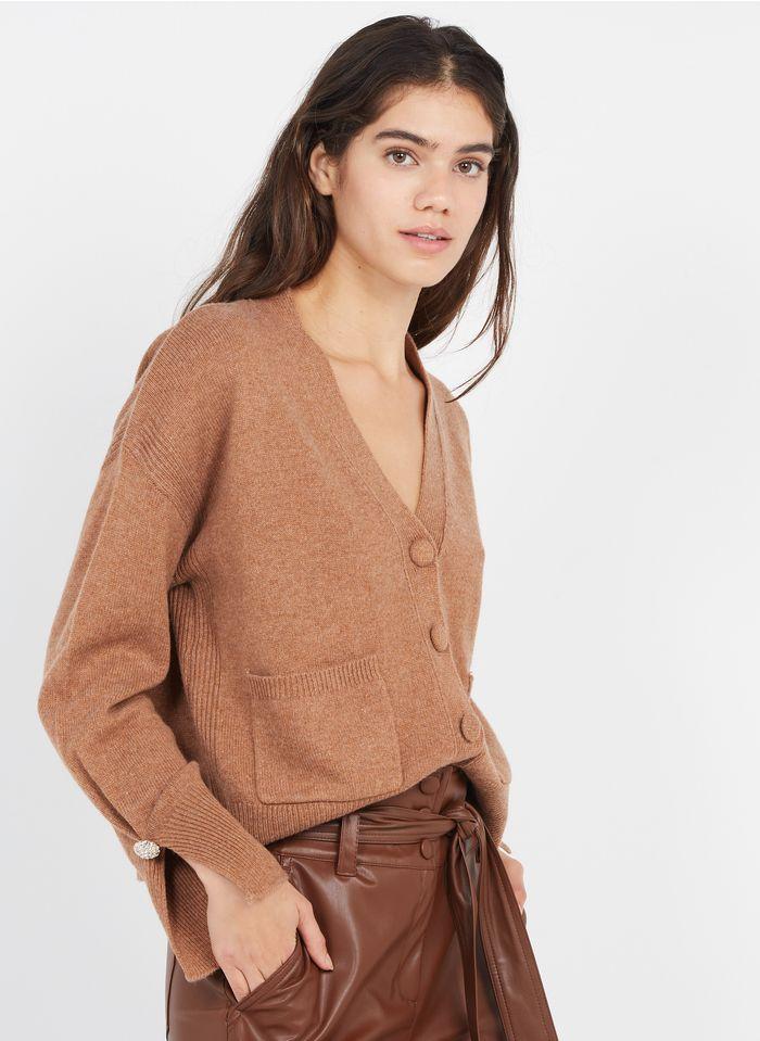LIU JO Beige Buttoned wool-blend V-neck cardigan