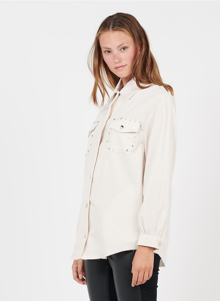 LIU JO White Corduroy shirt with classic collar