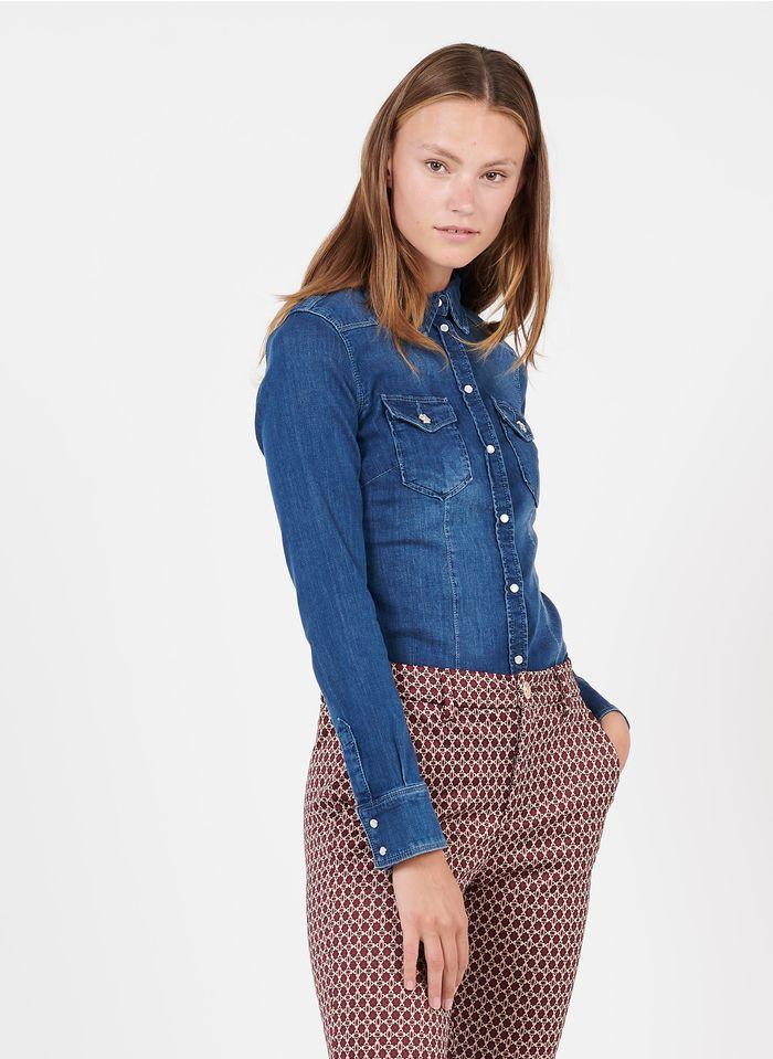 LIU JO Blue Denim shirt with classic collar