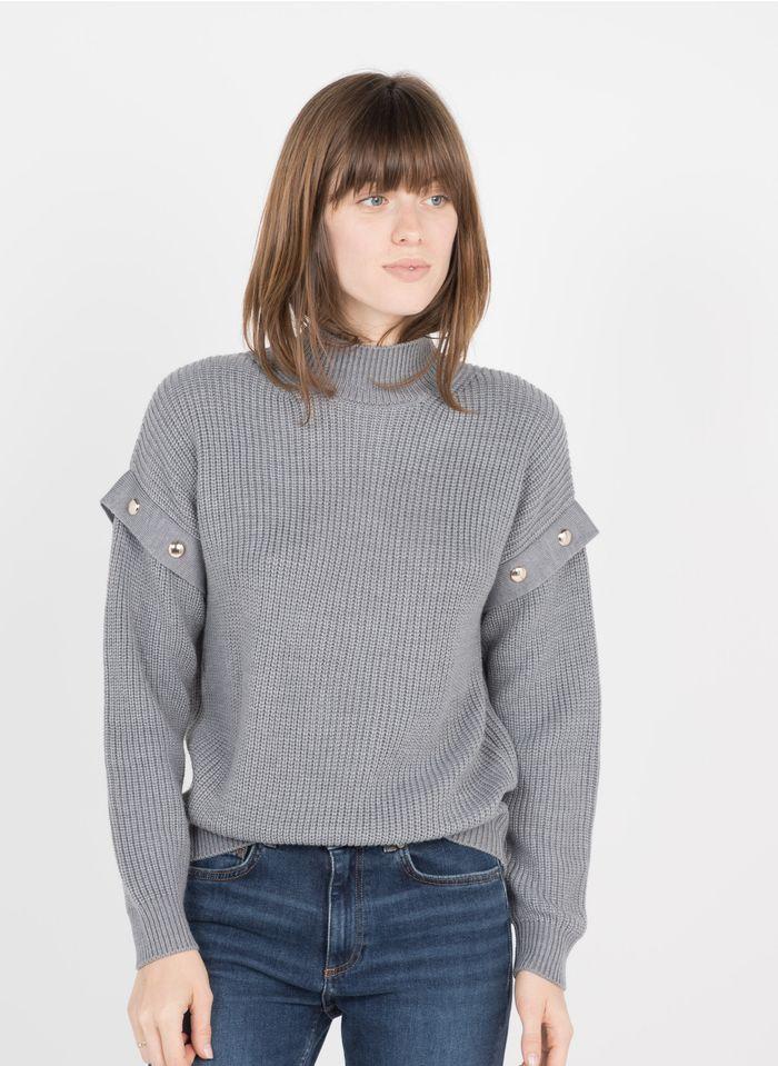 LIU JO Grey High-neck wool-blend sweater