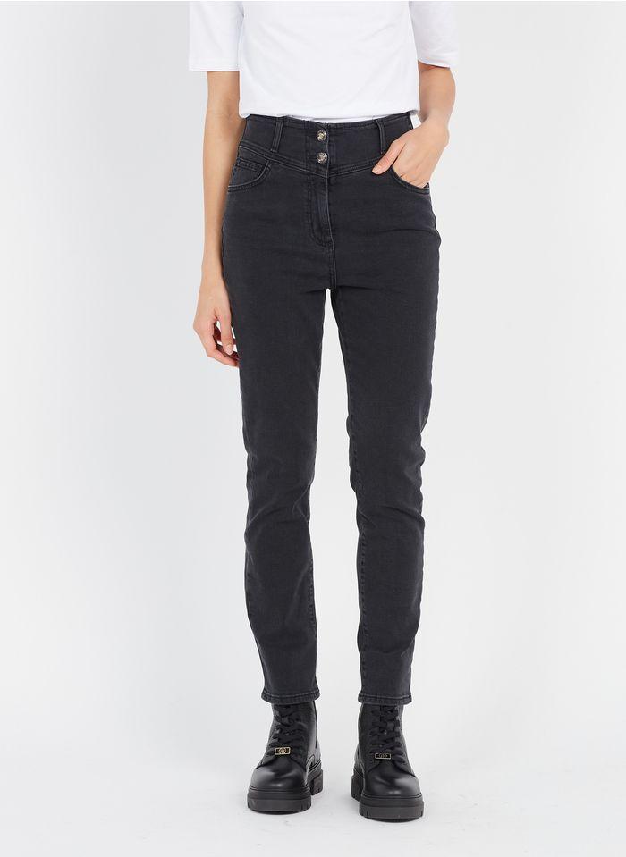 LIU JO Black High-rise stretch cotton jeans