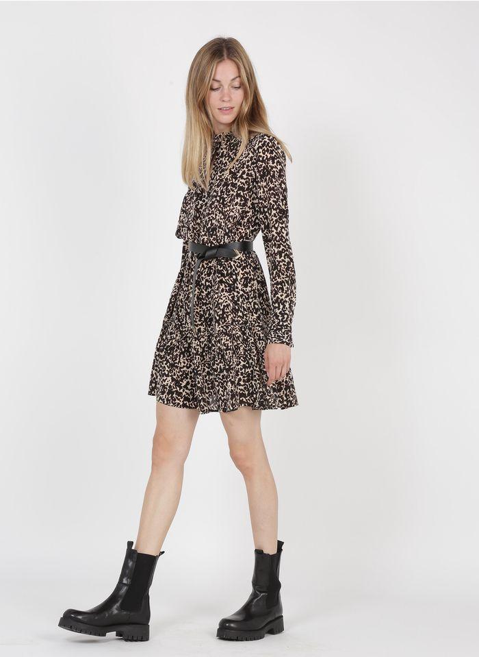 LIU JO Beige Short leopard print silk V-neck dress