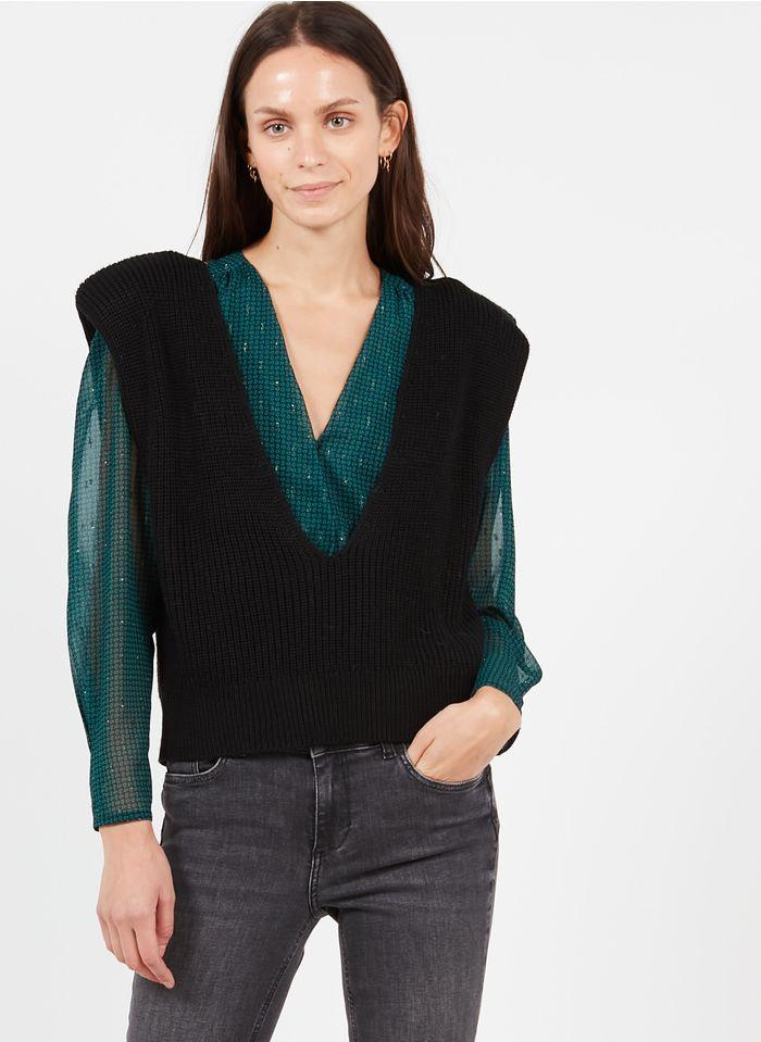 LIU JO Black Sleeveless mixed-knit V-neck sweater