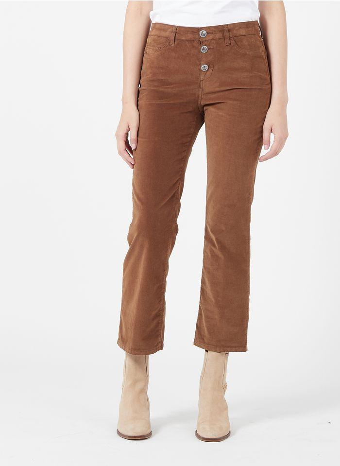 LIU JO Brown Straight-leg velvet pants