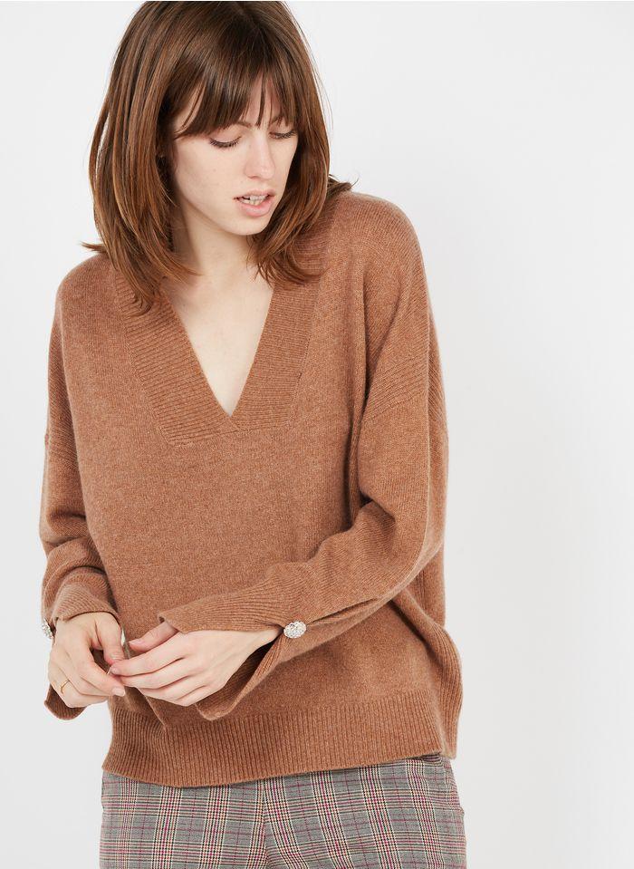 LIU JO Beige Wool-blend V-neck sweater