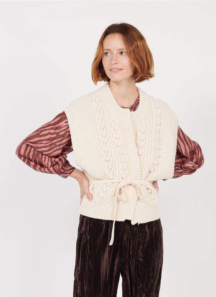 LOUISE MISHA Beige Round-neck sleeveless wool-blend cardigan