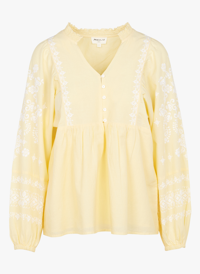 MAISON 123 Yellow Embroidered cotton V-neck top