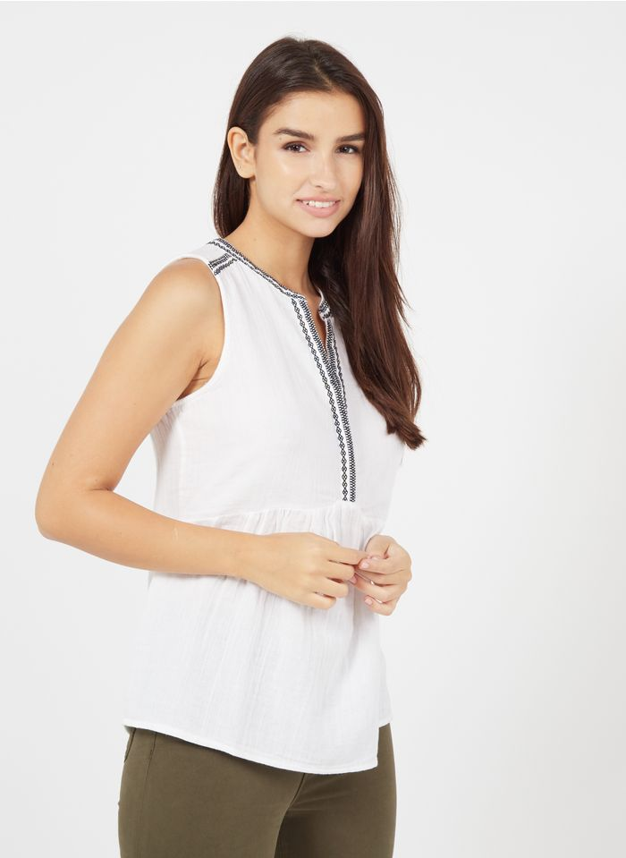 MAISON 123 White Embroidered organic cotton henley top