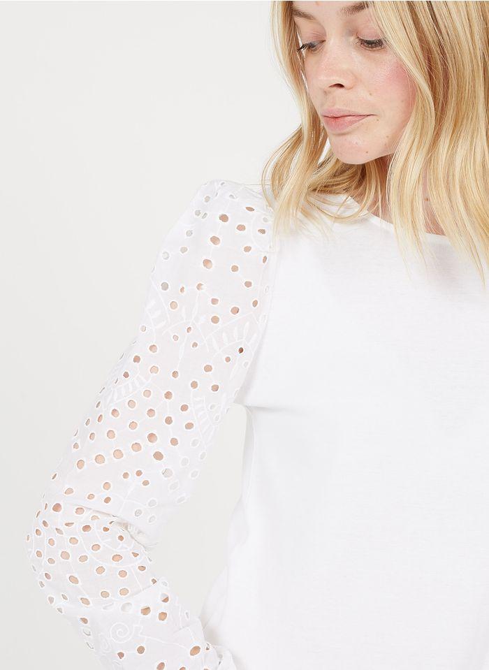 MAISON 123 White Embroidered round-neck cotton top