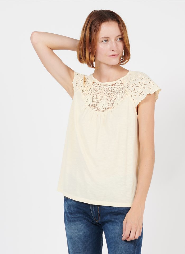 MAISON 123 Yellow Embroidered round-neck cotton top