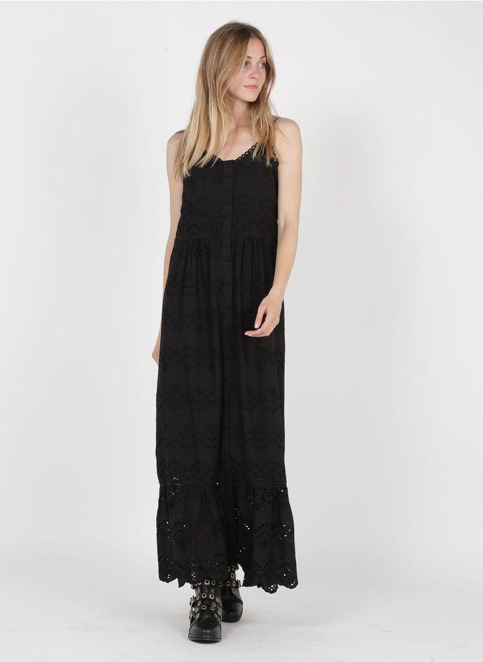 MAISON 123 Black Long embroidered cotton V-neck dress