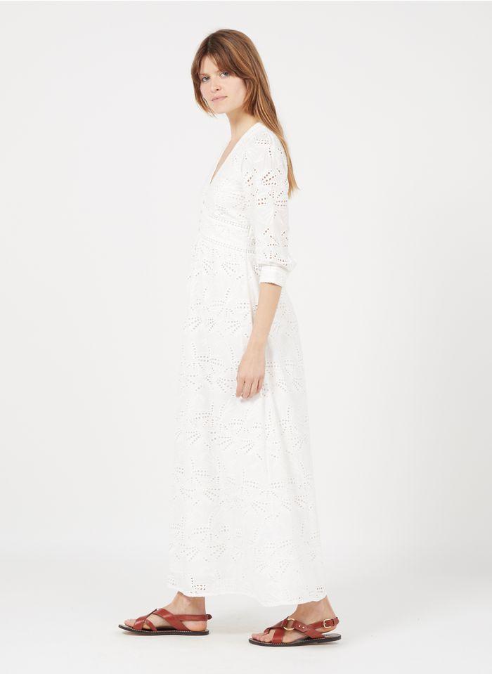 MAISON 123 White Long embroidered cotton V-neck dress
