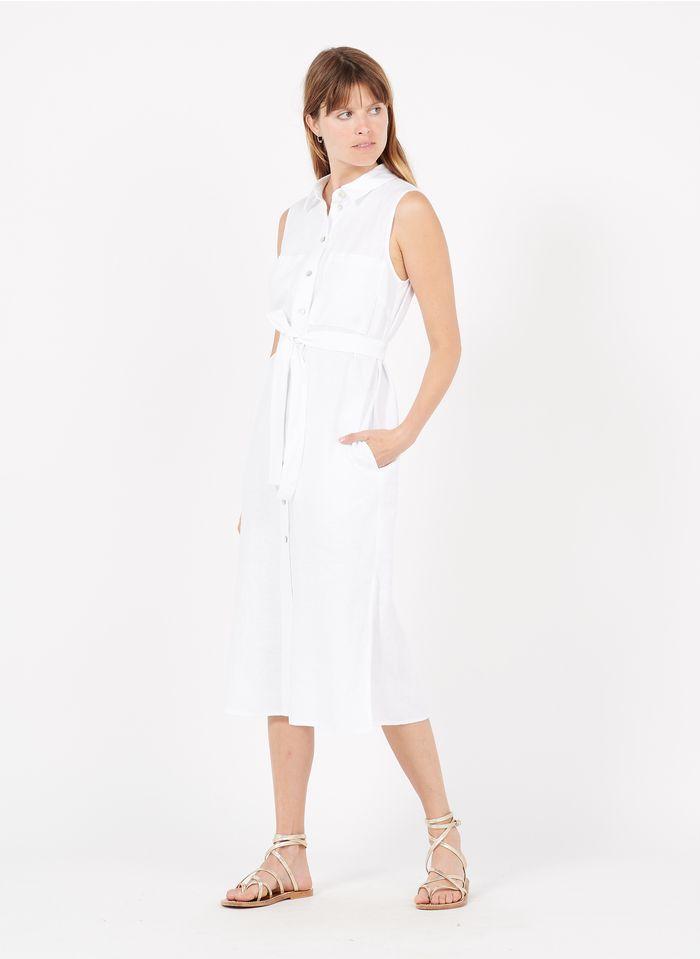 MAISON 123 White Long linen dress with classic collar