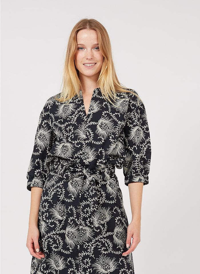 MAISON 123 Blue Printed cotton henley top with 3/4 sleeves