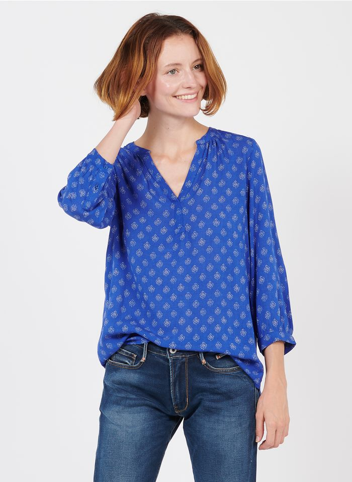 MAISON 123 Blue Printed henley top