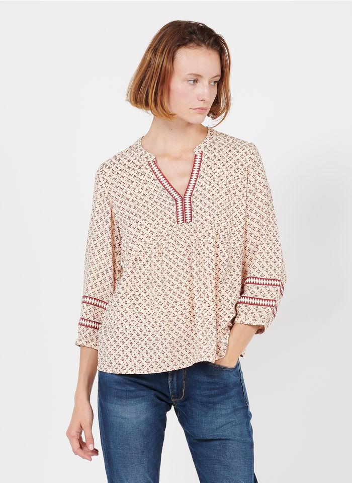 MAISON 123 Pink Printed henley top