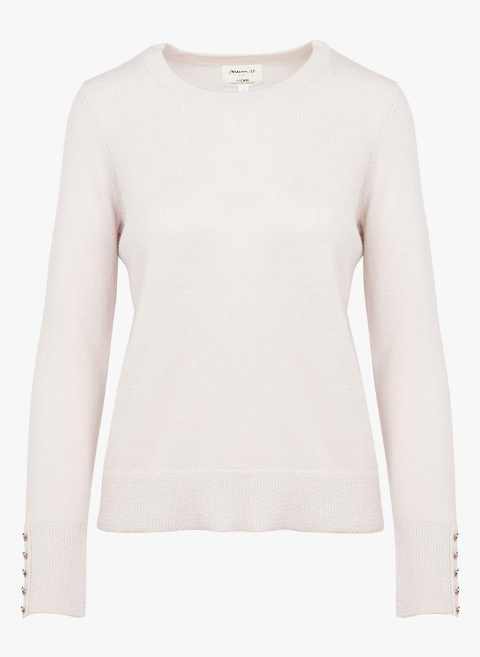 MAISON 123 Pink Round-neck metallic cashmere sweater