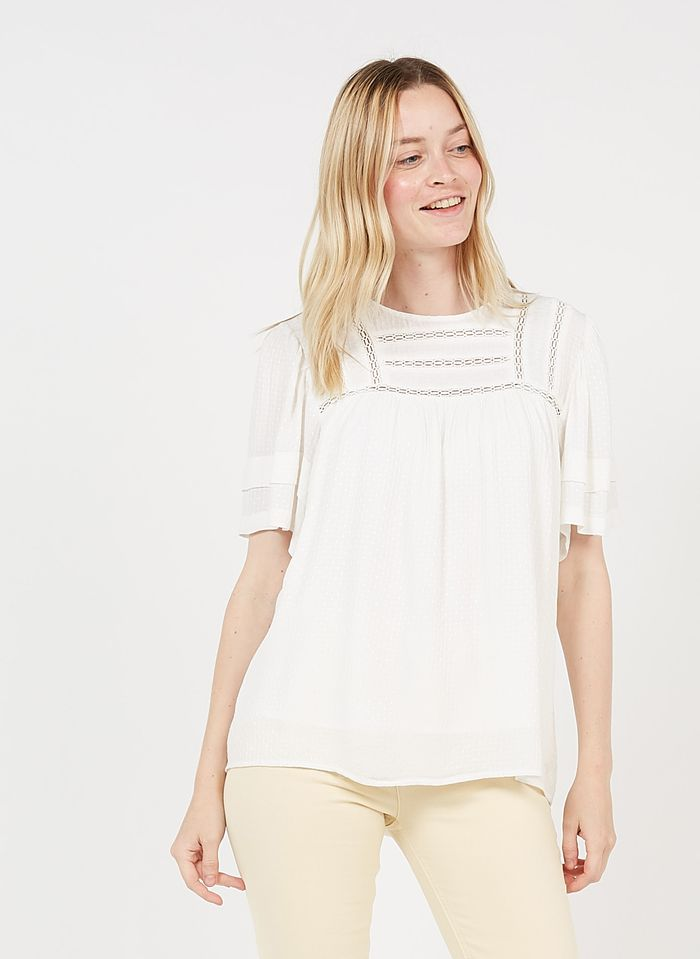 MAISON 123 White Round-neck top with lace trim