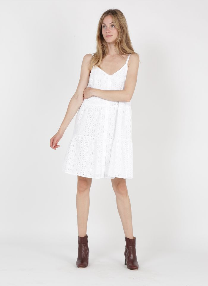 MAISON 123 White Short button-up V-neck cotton dress with broderie anglaise
