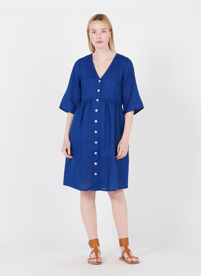 MAISON 123 Blue Short buttoned linen V-neck dress