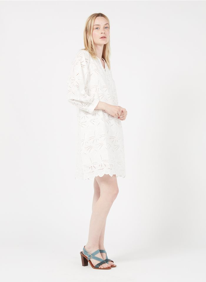 MAISON 123 White Short embroidered cotton dress with henley collar