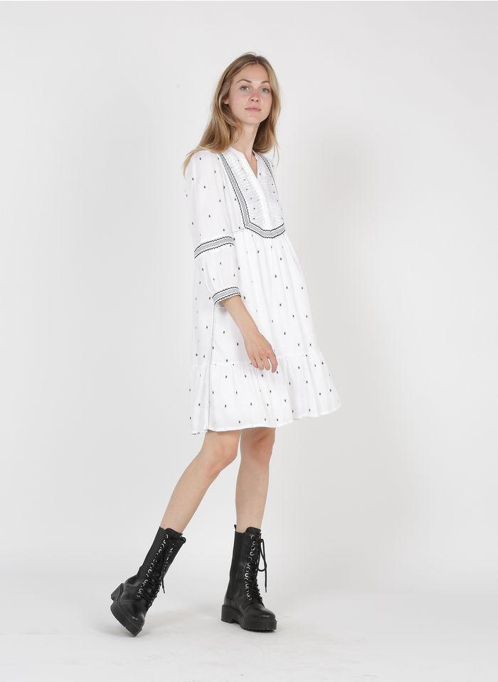 MAISON 123 White Short embroidered henley dress