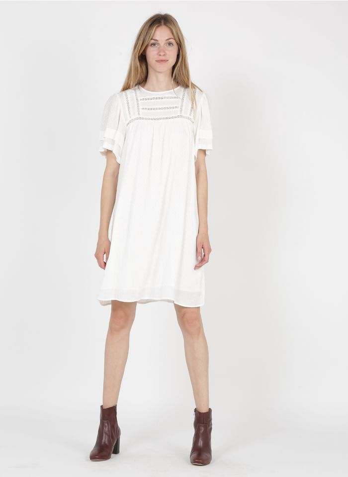 MAISON 123 White Short loose-fit round-neck dress with lace