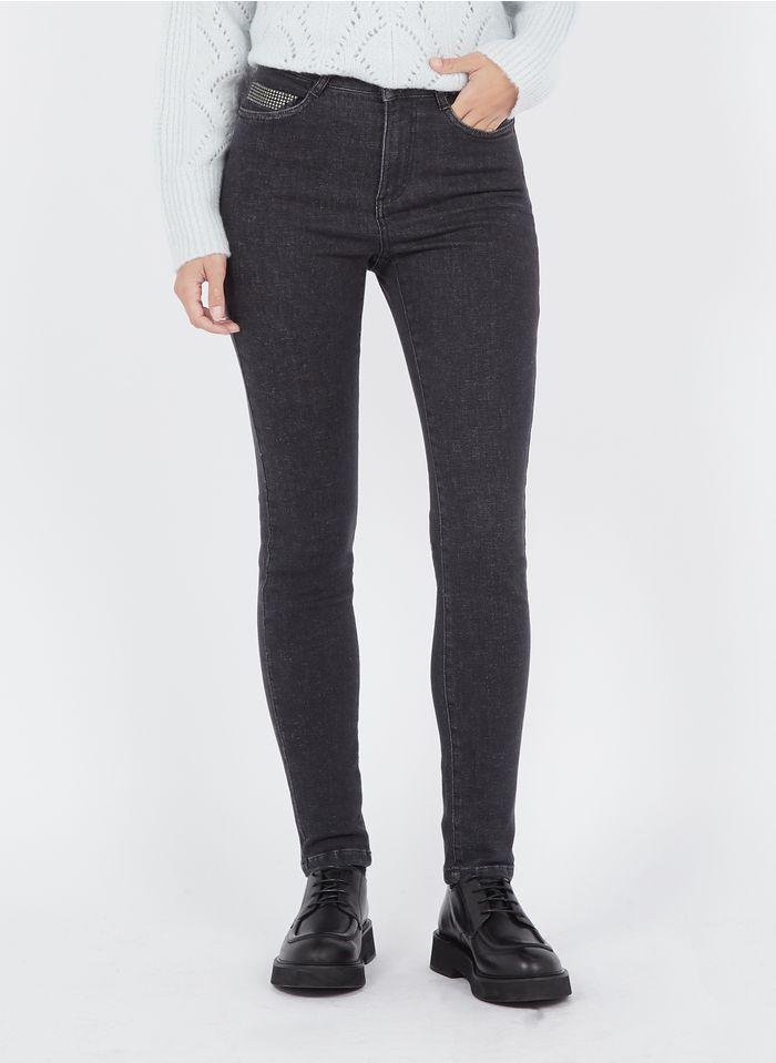 MAISON 123 Grey Studded high-rise skinny jeans