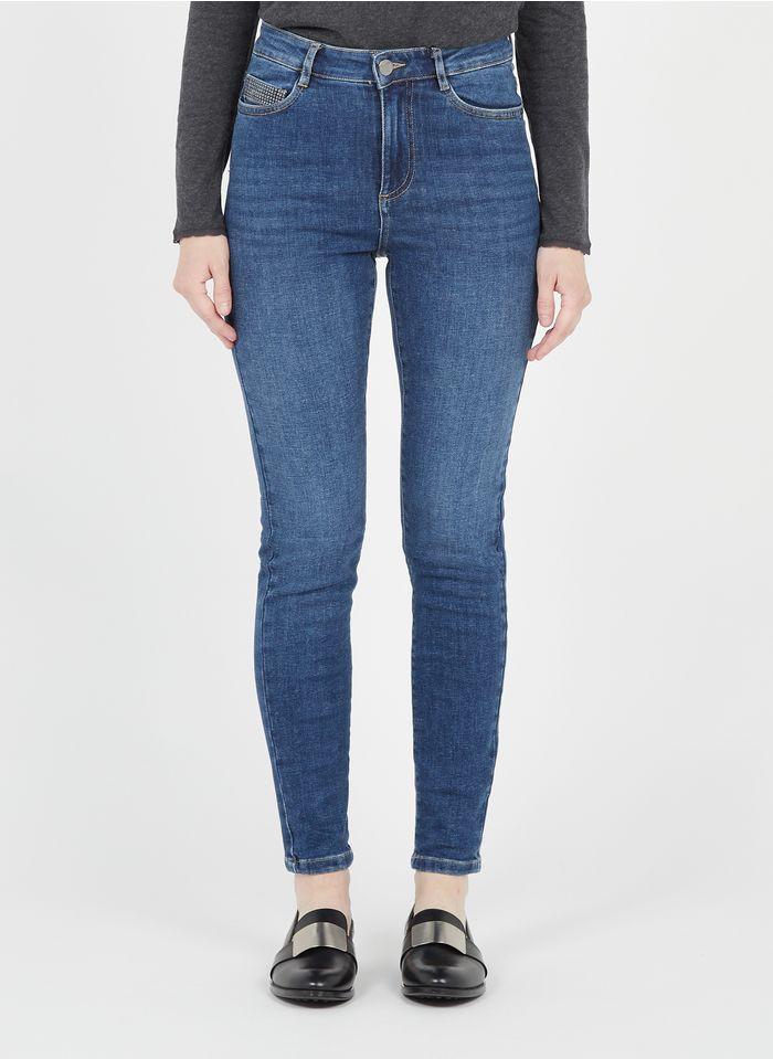 MAISON 123 Raw denim Studded high-rise skinny jeans