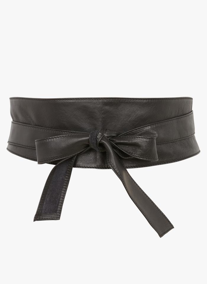 MAISON 123 Black Wide soft leather tie belt