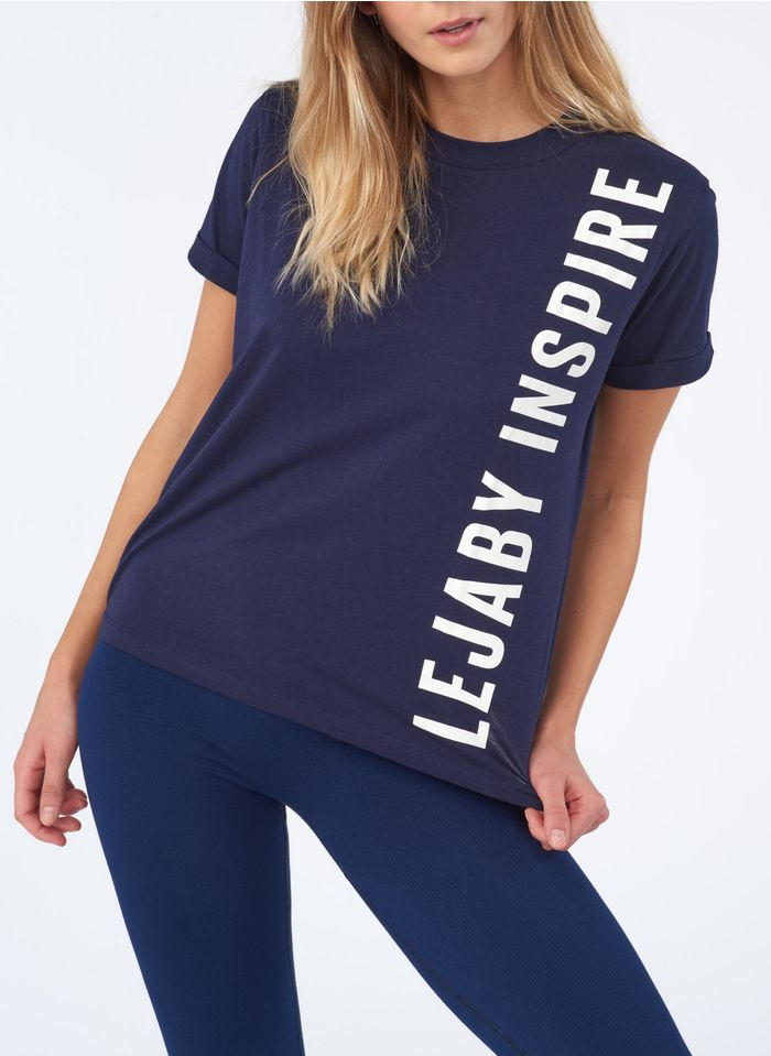 MAISON LEJABY Blue Round-neck cotton-blend T-shirt with screen print