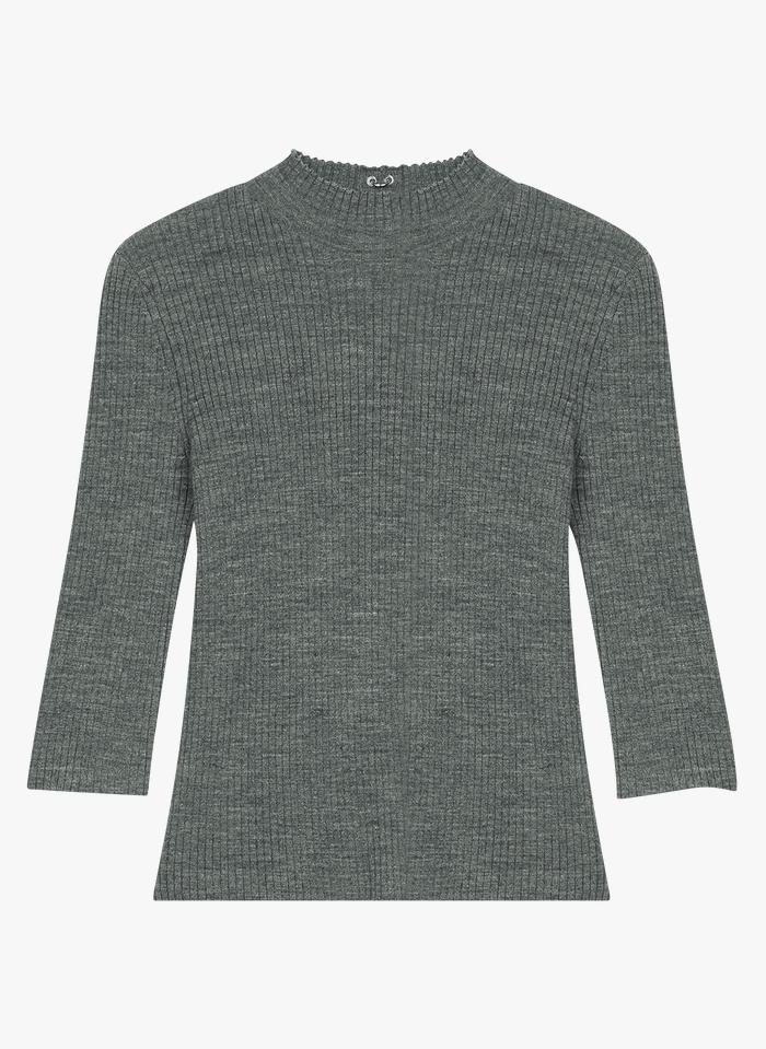 MAJE Grey High-neck wool-blend sweater