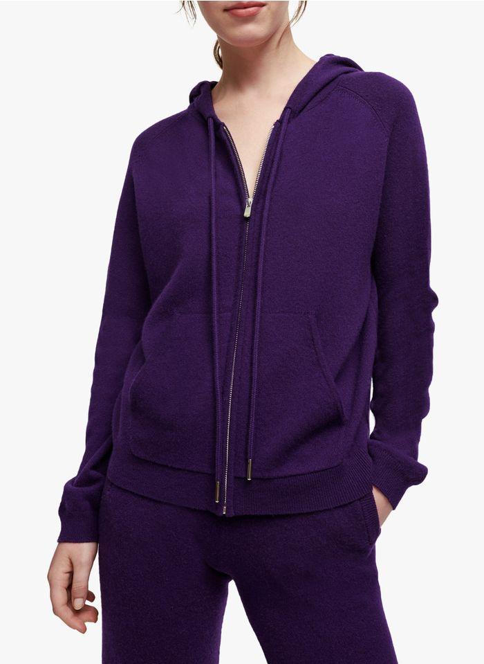 MAJE Purple Hooded zip-up cashmere-blend cardigan