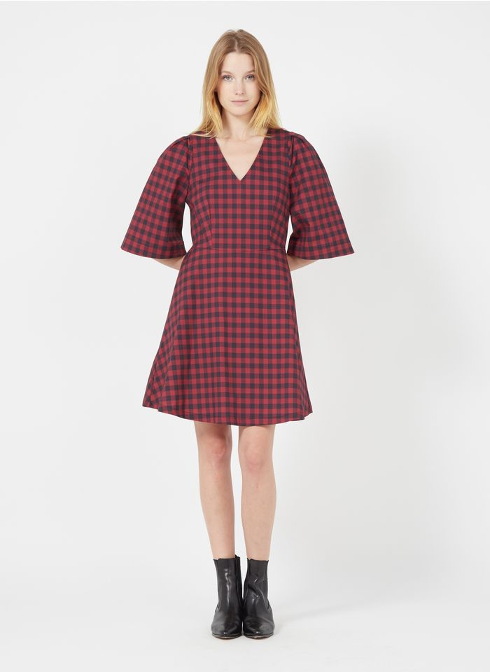 MAX&Co. Red Short checked dress with classic collar